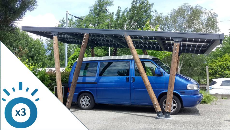 Carport solaire 3 voitures