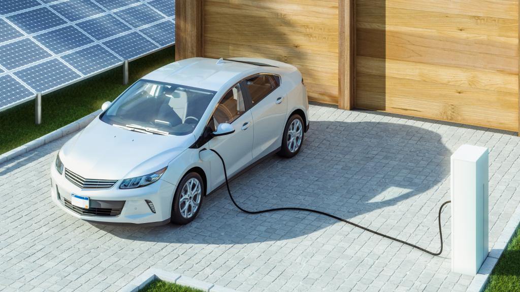 Exemple d'une borne de recharge pour voiture électrique à domicile.