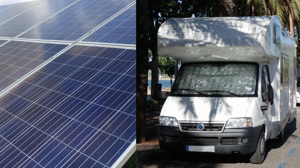Abri photovoltaïque et camping-car.