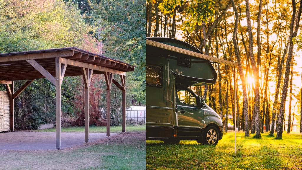 Carport bois et camping-car.